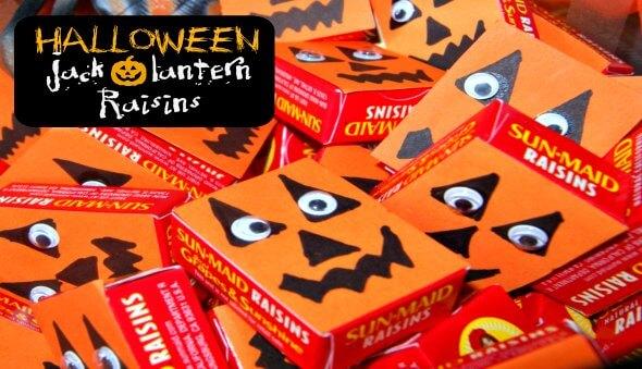 "Halloween Healthy ""Jack-O-Lantern"" Raisins"