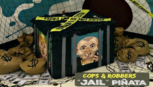 """Cops & Robbers Party """"Jail Cell"""" Piñata"""