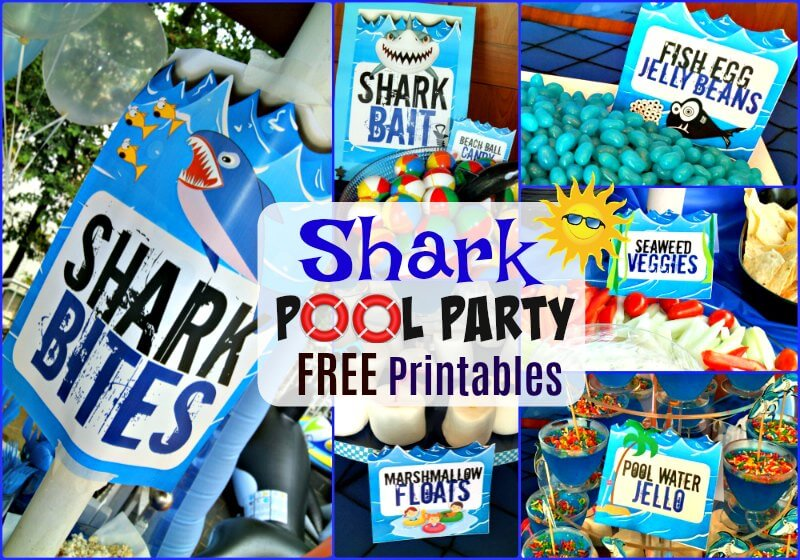 Shark Pool Party Themed FREE Printable Food Labels, Signs & More