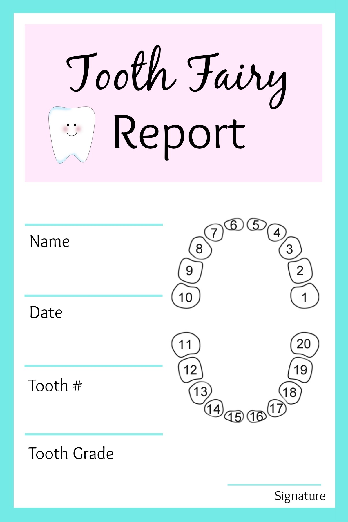 Tooth Fairy Teeth Chart Receipt Certificate