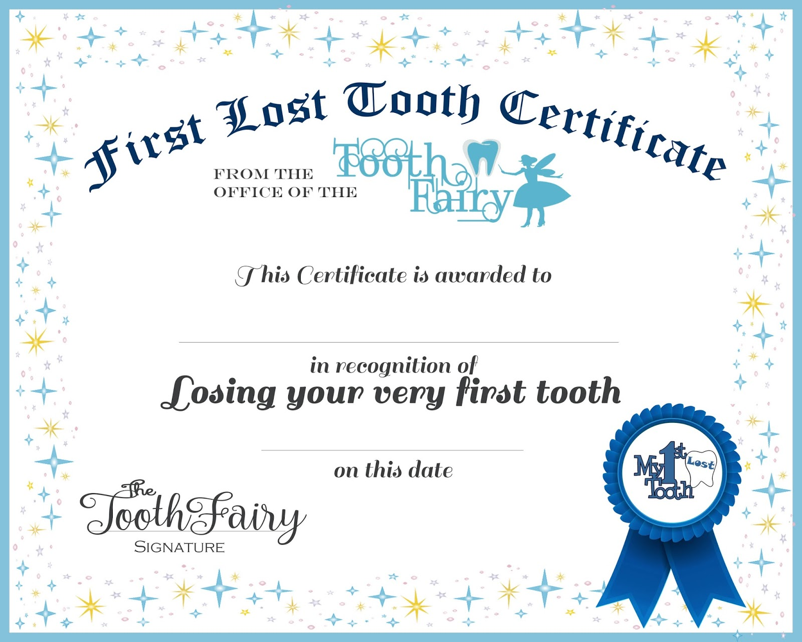 tooth fairy certificate receipt lost tooth boys free printable