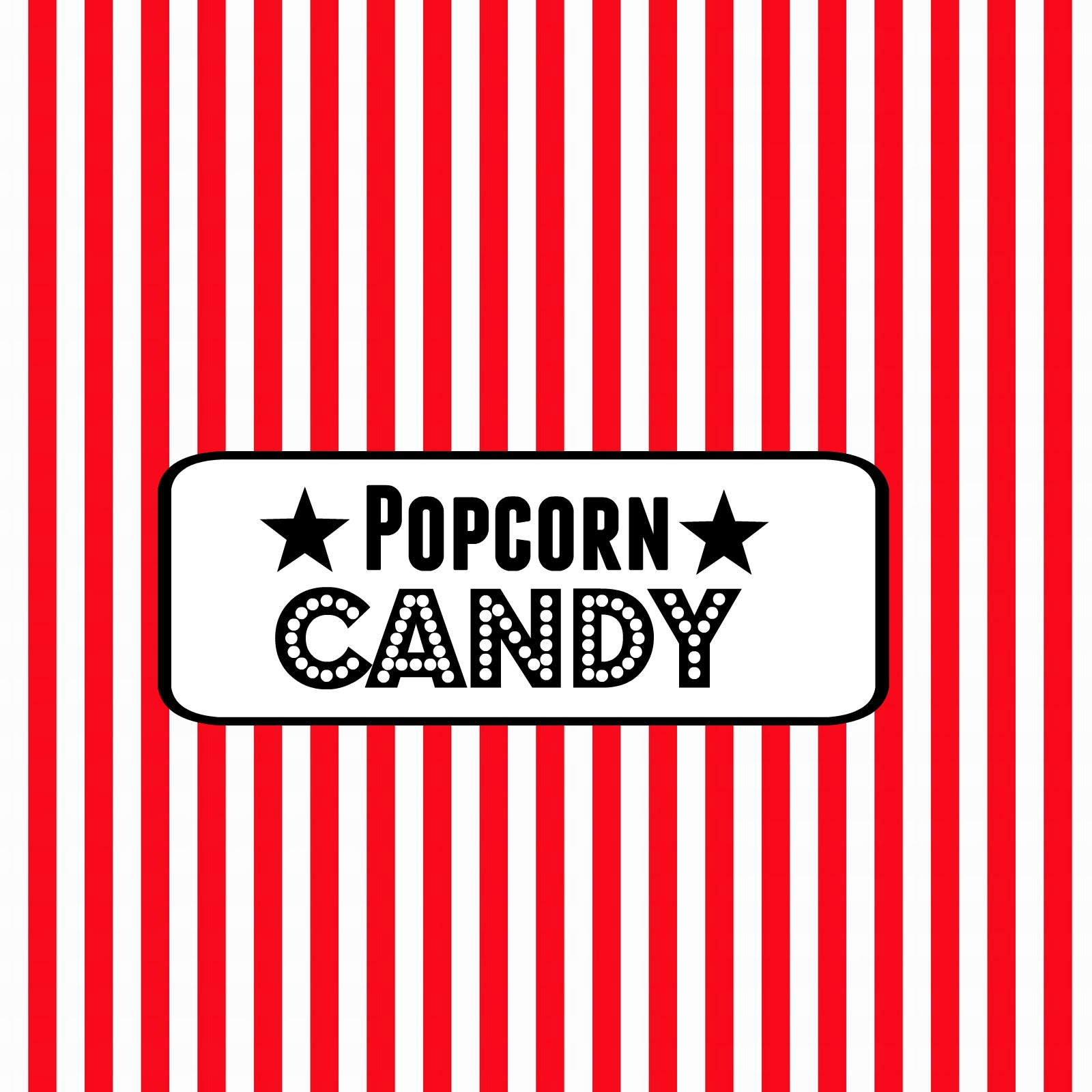 Popcorn Bar Movie Night Kid Birthday Free Printable Download Food Label Red White Stripe
