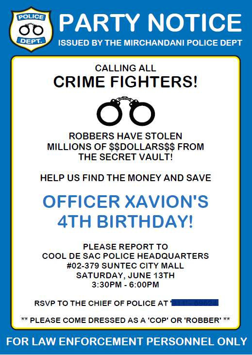 Cops and Robbers Party Invite