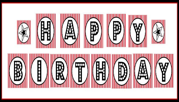Free Printable Happy Birthday Banner Red Black White