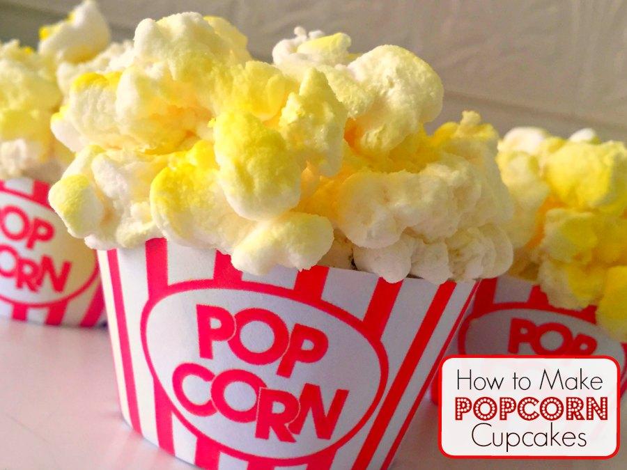Easy Popcorn Cupcakes Movie Night Birthday Party