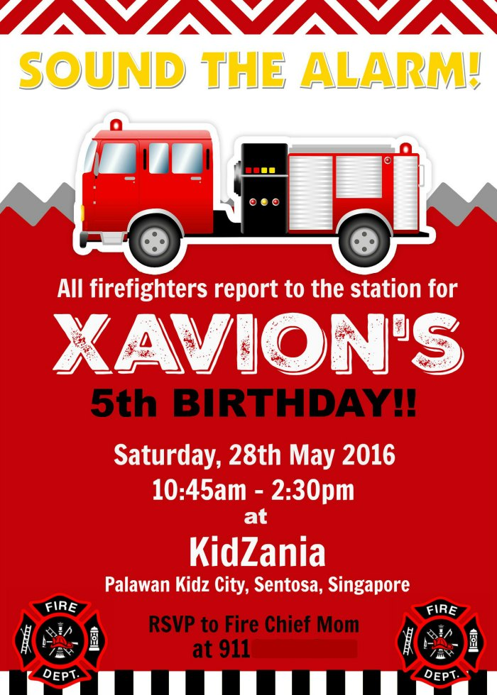 Firefighter Party Invite