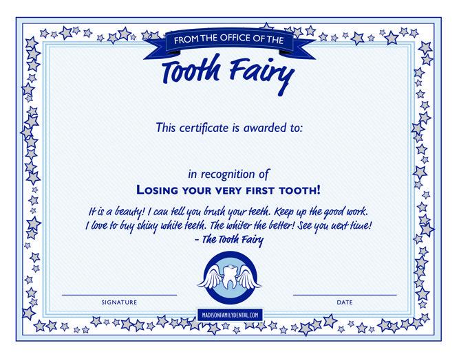 tood fairy certificate receipt boys