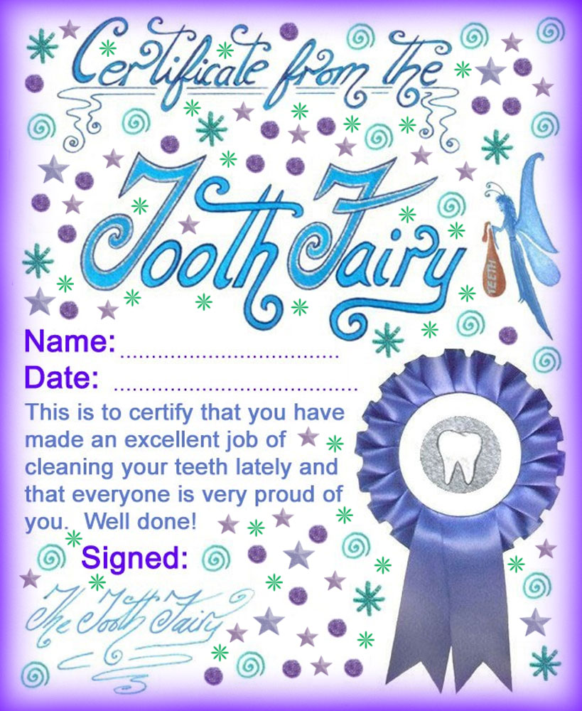 Tooth Fairy Good Job For Cleaning Teeth Certificate Lost Tooth Free Printable
