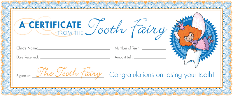 tooth fairy certificate receipt free printable boys girls
