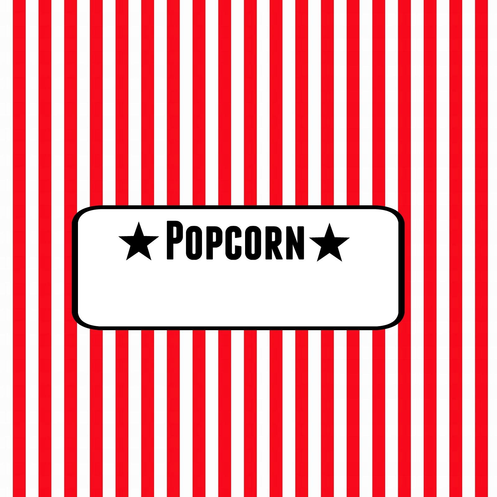 Popcorn Bar Movie Night Kid Birthday Free Printable Download Food Label Red White Stripe